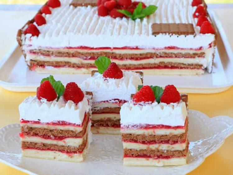 Торта со малини – без печење (ВИДЕО РЕЦЕПТ)