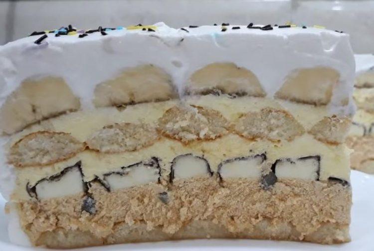 Кремаста торта со банани – не се пече (Видео рецепт)