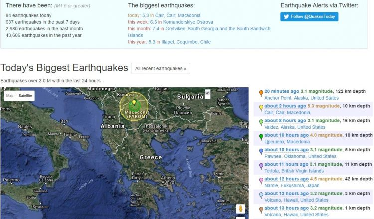 ФОТО: Земјотреси во Скопје: Еве што регистрираше Earthquaketrack.com