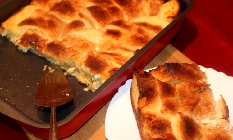 Пита од стар леб со кашкавал и шунка