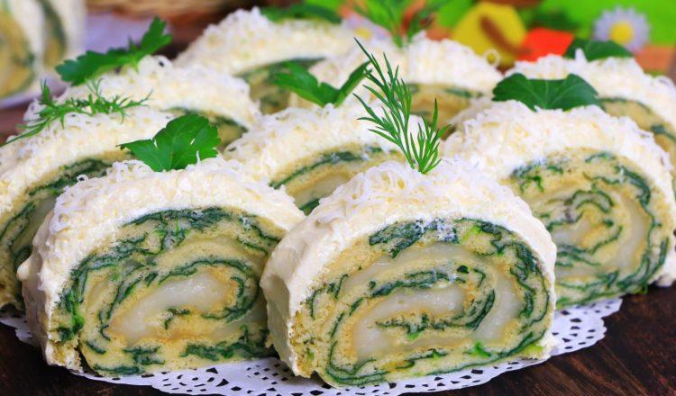 Солен ролат од спанаќ и сирење