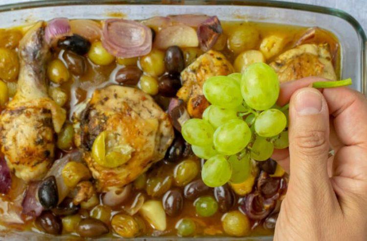 Егзотичен ручек: Пилешко со грозје